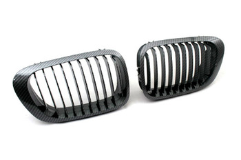 Carbon Fiber Style Sport Front Grille Replacement For BMW E46 3 Series Coupe (Pre-Facelifted)