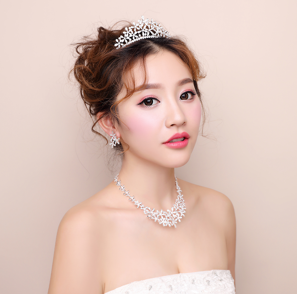 Princess Floral Crystal Rhinestone Brides Coronet Tiara Bridal Earring Necklace Wedding Engagement Jewelry Sets Prom Jewellery