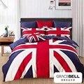 Nuevo azul rojo de la bandera de inglaterra estilo juego de cama queen size edredones muchacho de textiles para el hogar tela de algodón cubre bedlinens