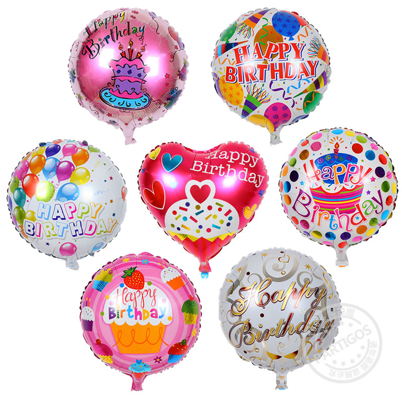 150pcs/lot 45*45cm Happy Birthday Balloons Printed Foil Balloons wedding Party B