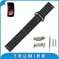 18mm de cuero genuino reloj band + adaptadores para samsung gear fit 2 sm-r360 correa de reloj inteligente imán hebilla de pulsera pulsera de la correa