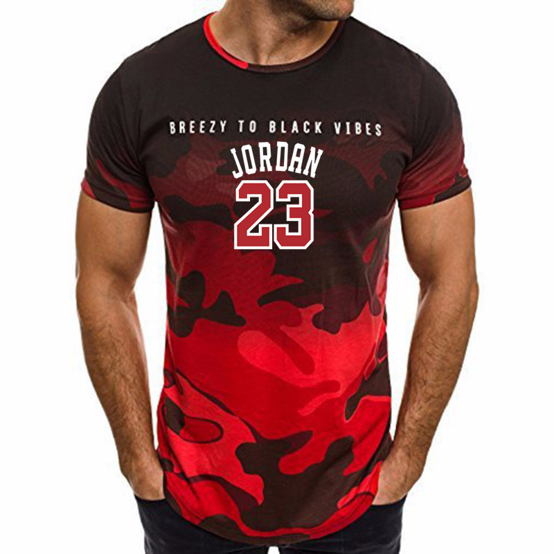 2018 Summer Hot Sale New Tee <font><b>Jordan</b></font> <font><b>23</b></font> Print Men Camo Fitness Exercise T-Shirt <font><b>Jordan</b></font> <font><b>23</b></font> <font><b>Short</b></font> Sleeve T shirt Men image