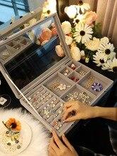 Europe Velvet Jewelry Storage Box Dustproof Earrings Necklace Bracelet Ring Storage Organizer Display Stand Wedding Gift 2016 pendant ring box jewelry display storage foldable case for wedding ring earrings bracelet valentine s day gift organizer