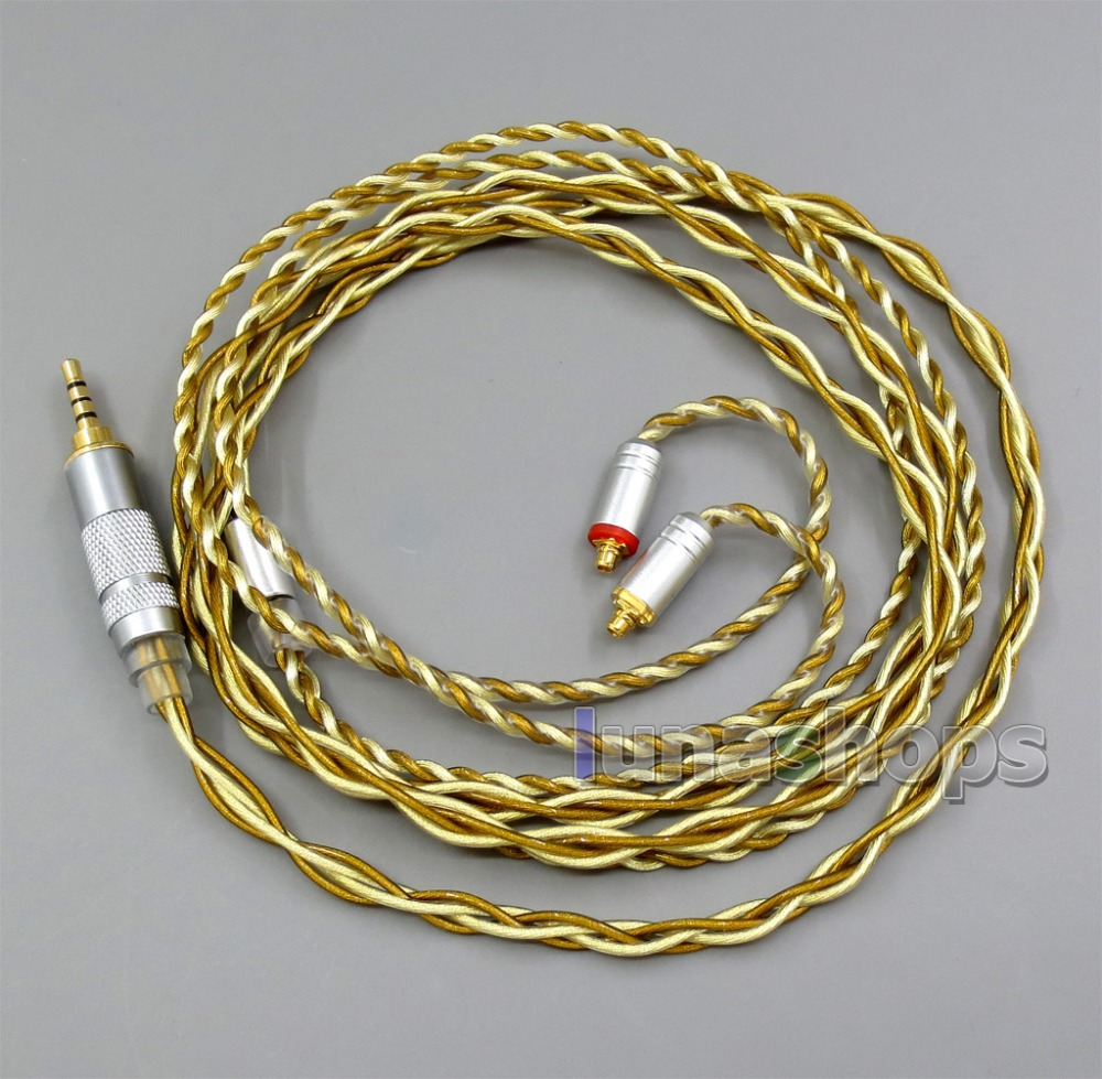 Extremely Soft 7N OCC Pure Silver + Gold Plated Mixed Earphone Cable For Shure se535 se846 se425 se215 MMCX 800 wires soft silver occ alloy teflo aft earphone cable for shure se215 se315 se425 se535 se846 ln005408