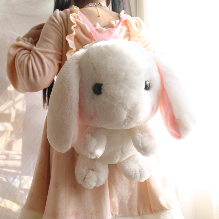 Japanese Anime LOLITA Women Plush Backpacks Cute Rabbit Bunny Girls Toy Backpack Cartoon Bag Toy Bag White Cute Fluffy Backpack