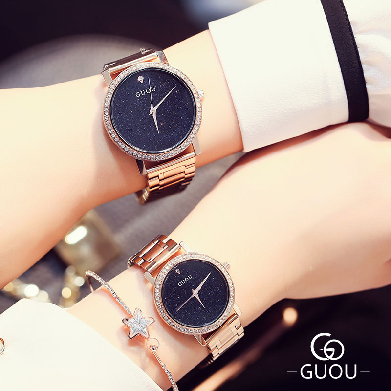 Original GUOU Brand Bling Stars Full Stainless Steel Rose Gold Japan Movt Quartz Wrist Watches Wristwatch for Women Ladies цена и фото