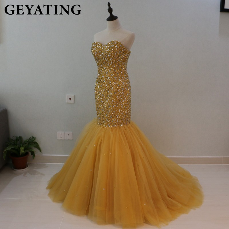 Robes de bal de sirène en or cristal perlé lourd pour les filles noires robe de soirée africaine 2019 longues robes de soirée formelles chérie - 2