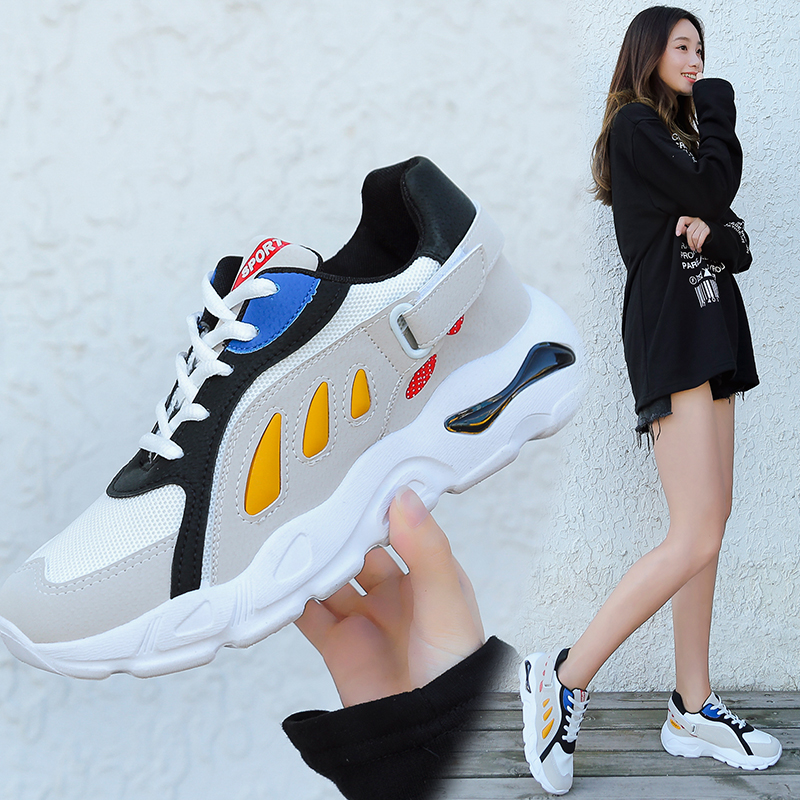 Taille 2018 De Couleur Chaussures Air Nouveau gris Noir Marche Aime forme Respirant Grande Plate Sort bleu Casual Femmes Lacets Mesh Sneakers rfTn1rq