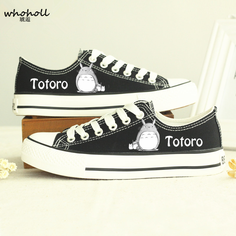 b114d715 Whoholl 2018 spring/autumn Men Couple casual canvas shoes My Neighbor  Totoro plimsolls Japanese anime print shoe chaussure homme