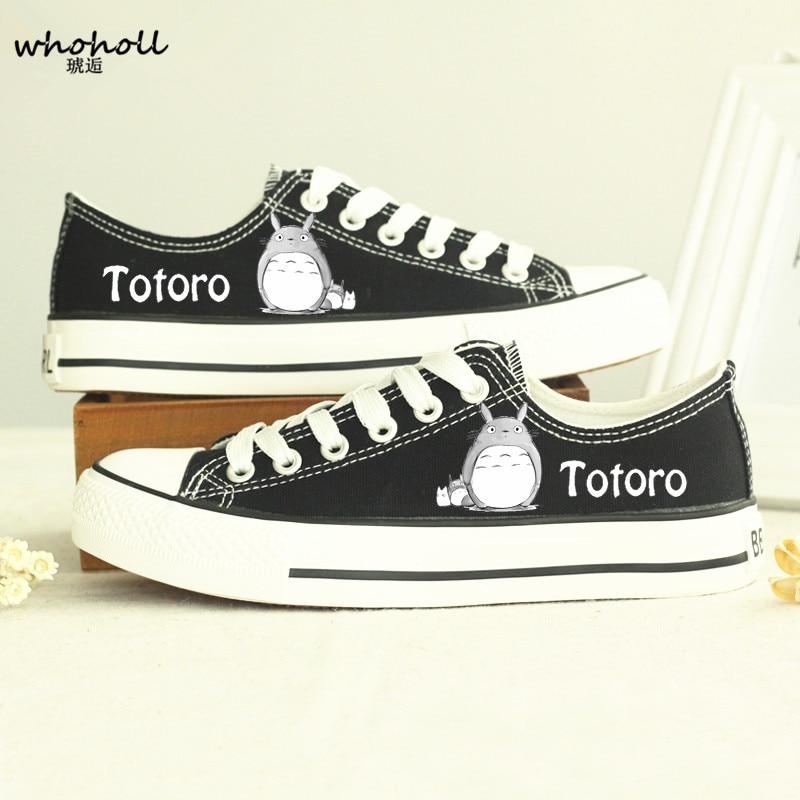 Whoholl 2018 tavaszi / őszi férfiak Pár alkalmi vászon cipő Szomszédom Totoro plimsolls Japán anime nyomtatási cipő chaussure homme