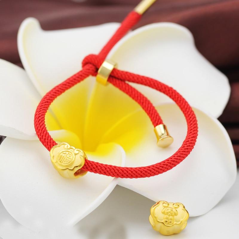 Pure 24K Yellow Gold Bracelet 3D Baby Lucky Fu Lock Pendant pure 24k yellow gold pendant 3d 999 gold fu star pendant 0 91g