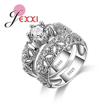 JEXXI Bridal Wedding Rings Set For Women Vintage 925 Sterling Silver Ring Band Jewelry Hollow Out Anillos Bijoux Bague Femme