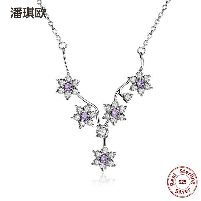 NEW 925 Sterling Silver Flowers Purple Swarovski Crystal Love Pendant Necklaces Charm For Women Fit Europe pan Jewelry