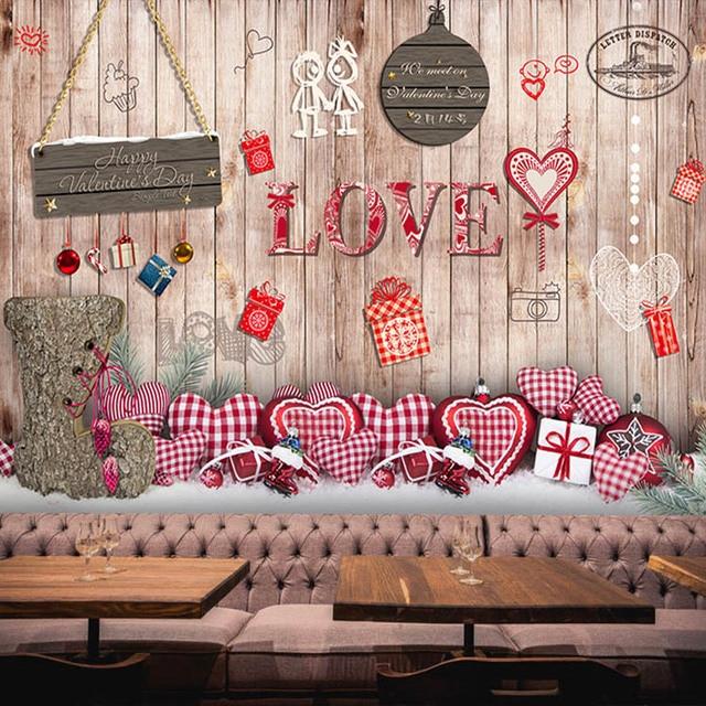 Custom photo love theme graining wallpaper Hotel Restaurant Bar