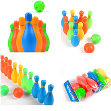 11cm Mini Interaction Leisure Educational Toys with Ball and Pins Kids Plastic Bowling Set For Kids Funny Toy Sports(China)