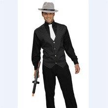 Men's Gangster Vest Costume V Neck Sleeveless Waistcoat Men 2018 Spring New Vertical Striped Suit Vest Slim Fit Wedding Business