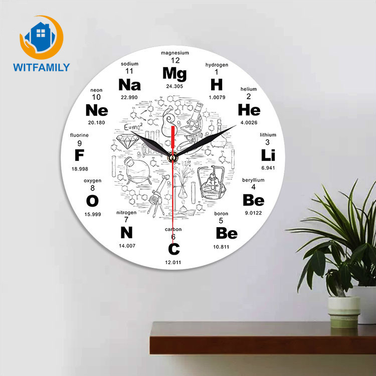 Art Chemical Symbols Wall Clock Periodic Table Of Elements Wall Educational ElementaL Display Classroom Clock Teacher's Gift