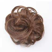 5pieces jeedou Synthetic Brown Curly Chignon Hair Extension Women's Hair Accessories Rubber Band Hair Bun Natual Hairpieces