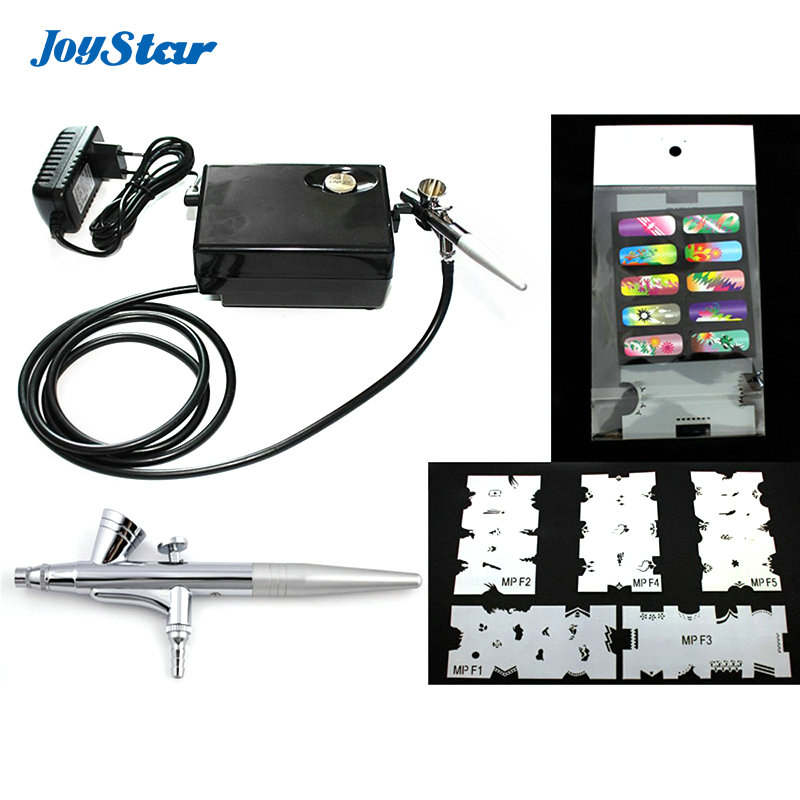 Us 42 99 Abest Salon Airbrush Nail Art System Compressor Kit With Airbrush Stencil For Cake Decorating Nail Tattoos In Eye Shadow Applicator From