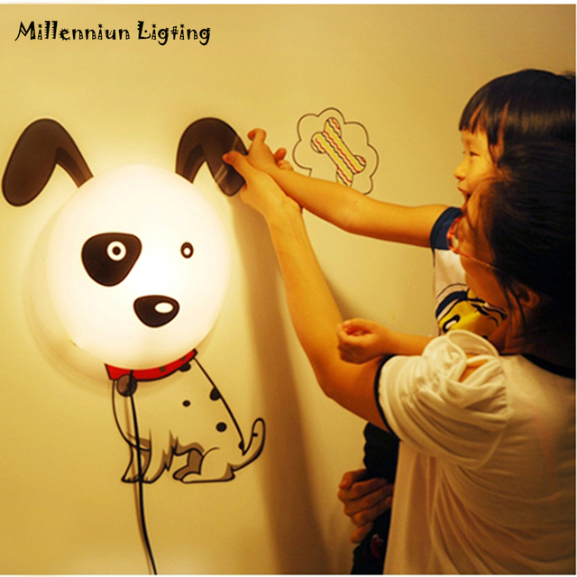 Wallpaper 3D Wall Lamp Childrenu0027s Room Cute Dog Dog Wall Light 3D Cartoon  Night Light Home