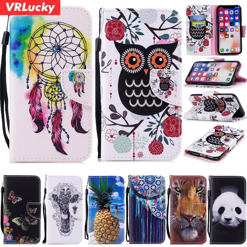 VRLucky Wallet PU Leather Flip Cover Phone Case Owl Panda Patterns For iPhone X For iPhone 8 7 8+ 7+ 6 6s 6 Plus 6s Plus 5 5s SE