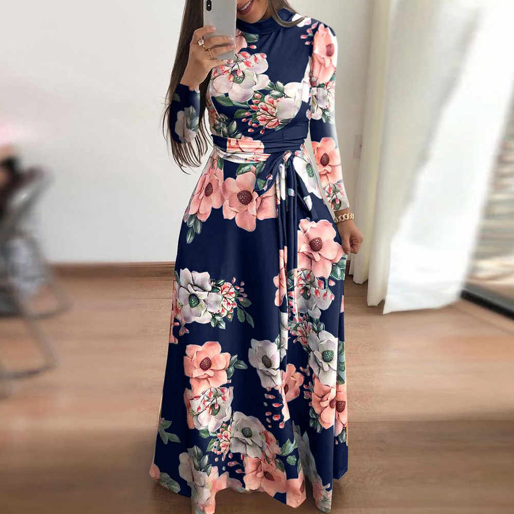 Floral Printed Dress Women Multicolor Vacation Boho Bohemian Turtleneck Long Sleeve Belted Autumn Maxi Dresses #EP