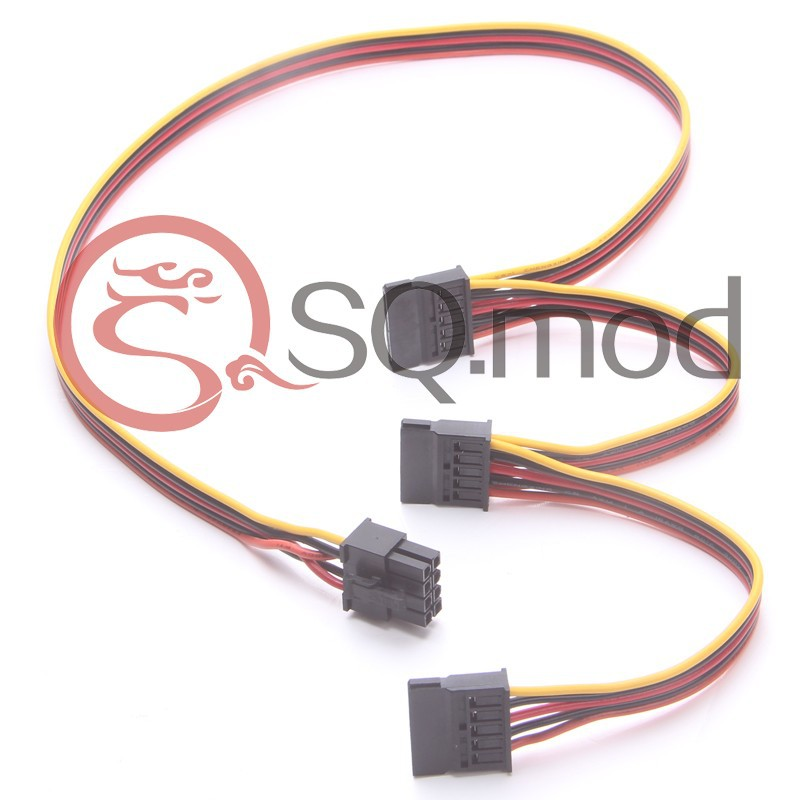 2Pcs/lot---for Thermaltake Tt TR2 Series PSU Modular 8-Pin Male to 3-Port 15-Pin SATA Female Splitter Power Cable Cord 18AWG thermaltake tr2 s 550w
