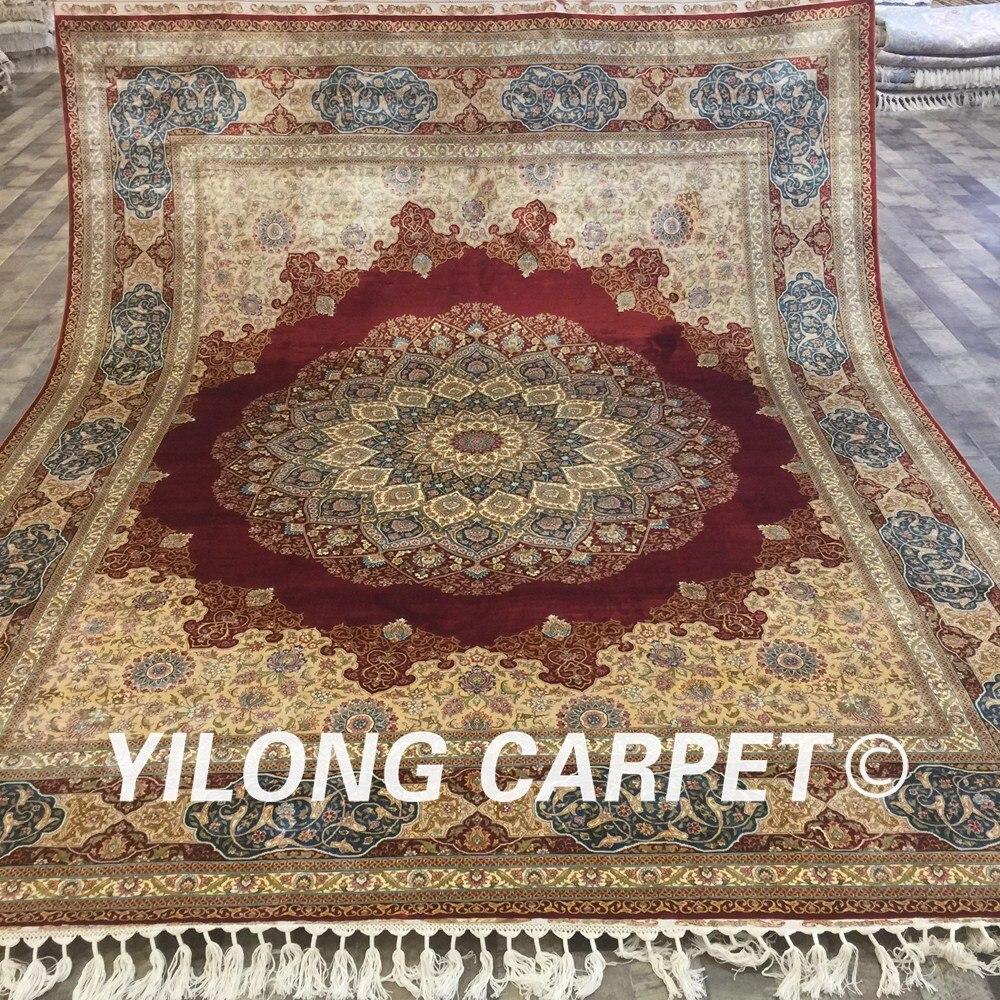 Yilong 8u0027x10u0027 Large Red Oriental Rugs Handmade Oversize Silk Carpet From  Iran (YWX011A 8x10)