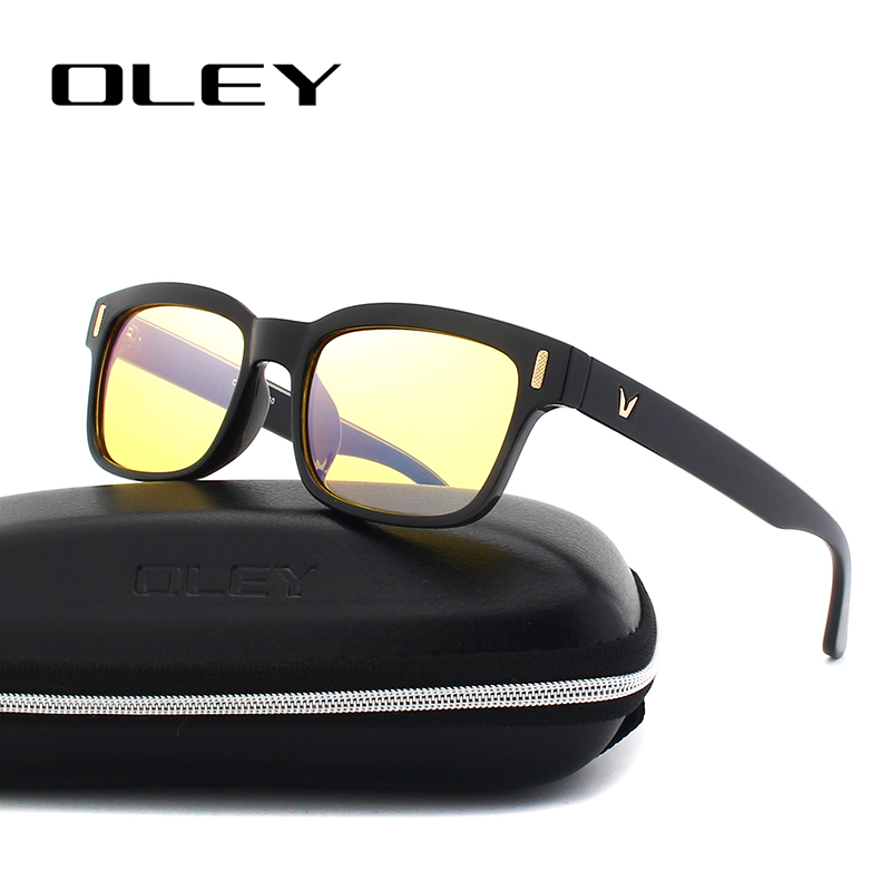 OLEY New Glasses Square Frames Computer-Radiation-Protection Retro PC Blu-Ray Optical
