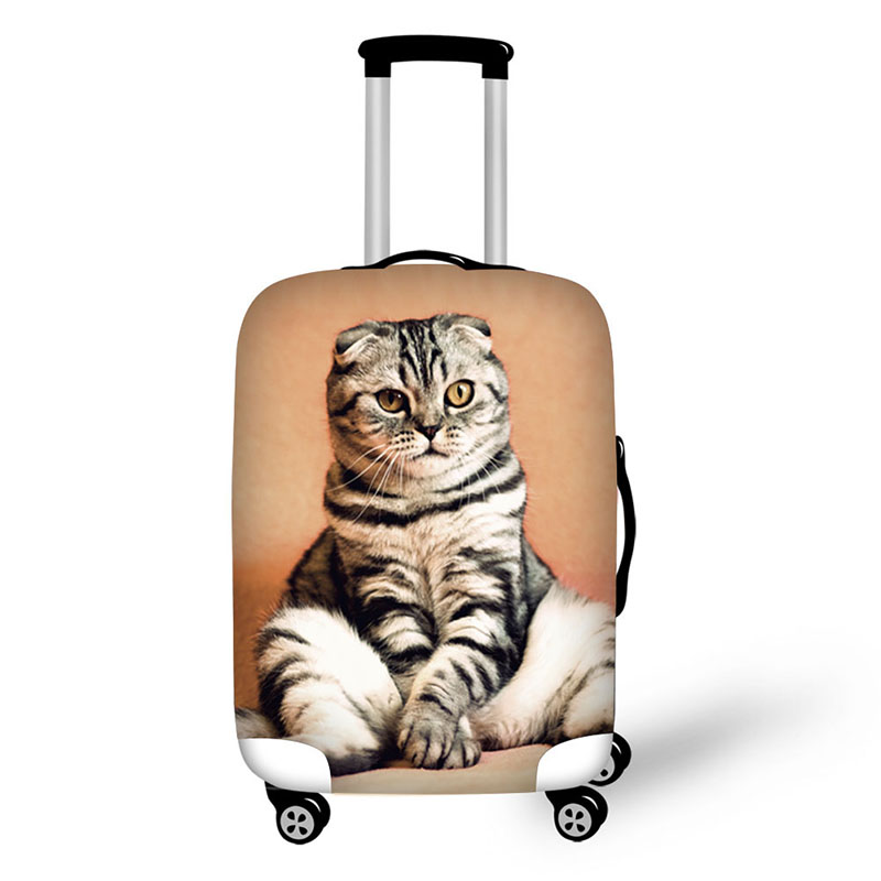 Fancy Cat Suitcase Cover Antifouling Luggage Protective Dust Cover For Suitcases Stretchable Luggage Cover With Zipper Closure