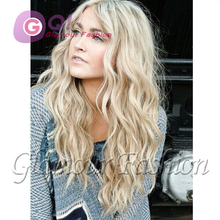 GQ 613# 130%density long natural wave remy blonde human hair full lace wig & glueless lace front wig for white women middle part
