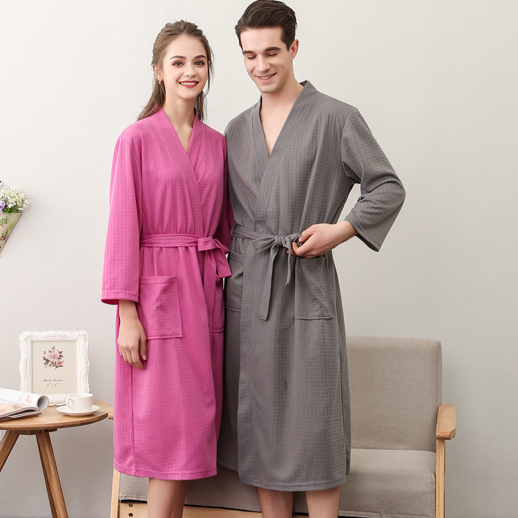 4590d31dbd4 NewBang Brand Lovers Knee Length Suck Sweat Kimono Bath Robe Mens Sleeve  Dobby Waffle Bathrobe Male Women Sexy Dressing Gown-in Robes from Underwear  ...
