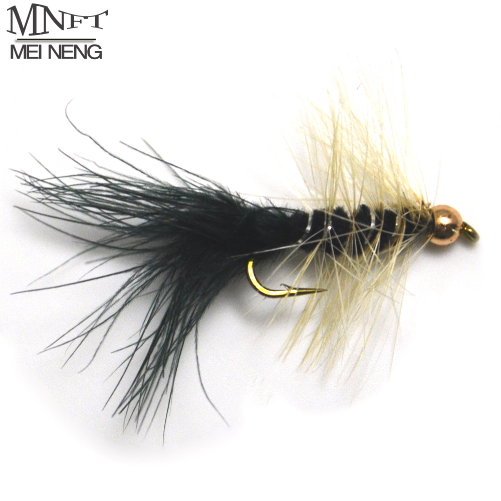 MNFT 10PCS/Pack Bead head Nymph Trout Fishing Flies Zebra body white beard Long Shank Fly Tying 10# Hooks 12pcs 14 red tail bead head buzzer nymph fly for trout fishing lures