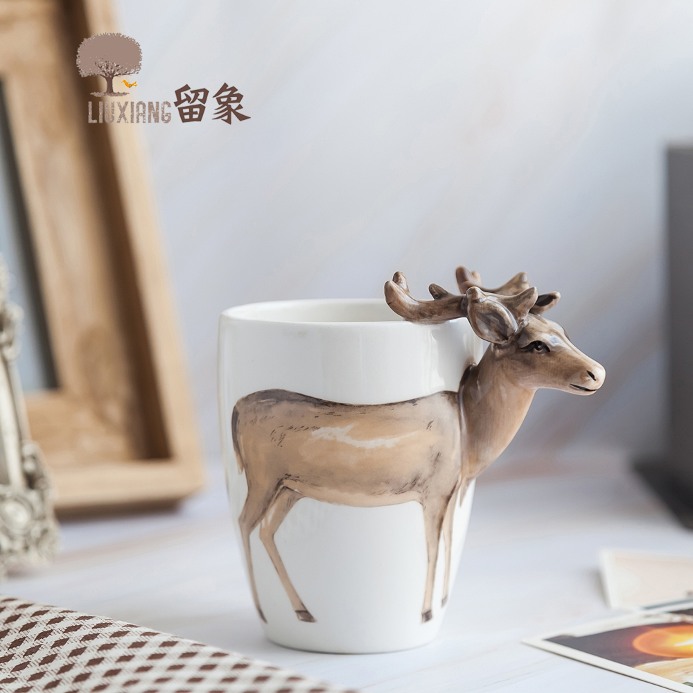 Dwelling Ornament Equipment Ceramic Espresso Mug LX Ceramic Milk Cup Cute Animal Cup 3D Ceramic Mugs Water Mug Deer Couple Cups Collectible figurines & Miniatures, Low cost Collectible figurines...