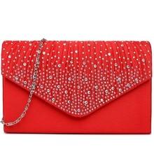 Schöne und modische frauen schminktäschchen geraffte diamante studded abend handtasche umhängetasche ketten tasche