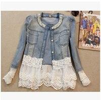 Female Short Section Denim Jacket 2017 Spring New Fashion Beaded Thin Stitching Lace WOMEN Cowboy
