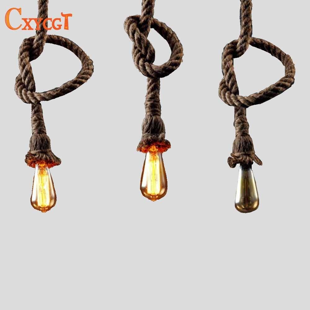 Retro Vintage Rope Pendant Light Industrial Style | LED ...