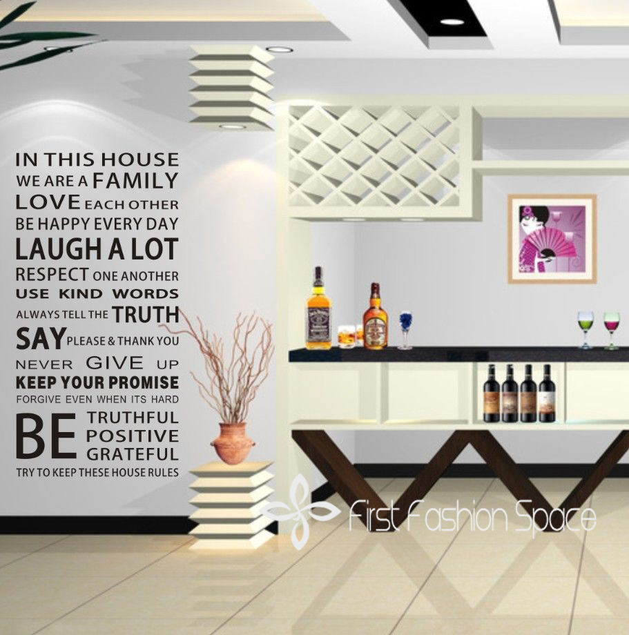 House design rules - New 2017 Family House Rules Quotes And Sayings Stickers Wall Decal Removable Art Vinyl Wall Sticker Home Decor Size 55x110cm In Wall Stickers From Home