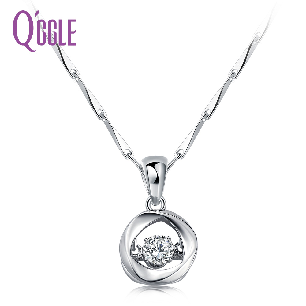QGGLE S925 Sterling Silver AAA Austrian Zircon Necklace for Women Glittering Round Pendant Necklace JewelryQGGLE S925 Sterling Silver AAA Austrian Zircon Necklace for Women Glittering Round Pendant Necklace Jewelry