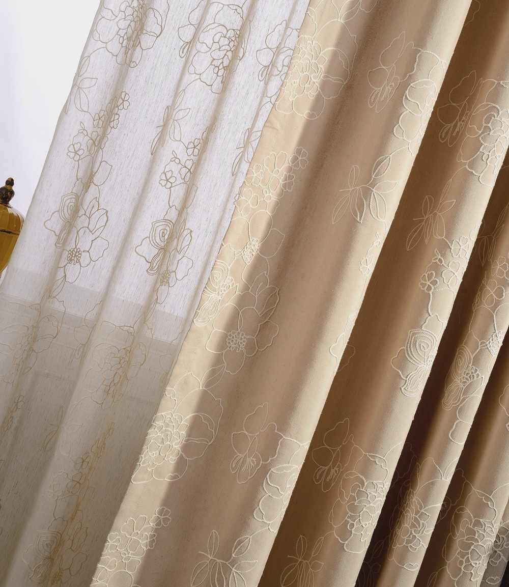 Элегантные льняные затемненные занавески с вышивкой для гостиной, тюлевые прозрачные Занавески, шторы Cortinas Para Sala De Luxo Cortina