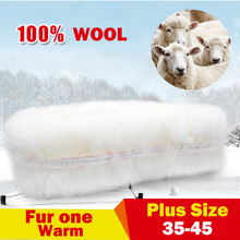 NANCY TINO Unisex Insoles for Snow Boots Thick Shoes Real Fur 100% Cashmere Sheepskin Wool Thermal Warm Soft  Size 35-45