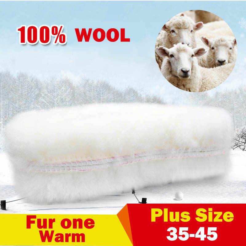 NANCY TINO Unisex Tabanlık Kar Botları için Kalın Ayakkabı Gerçek Kürk 100% Kaşmir Koyun Yün Termal Tabanlık Sıcak Yumuşak Boyutu 35-45