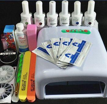 Biutee Nail Art Tools Pro DIY Full Set Soak Off Uv Gel Polish Manicure Set 36W Curing Lamp Kit Set