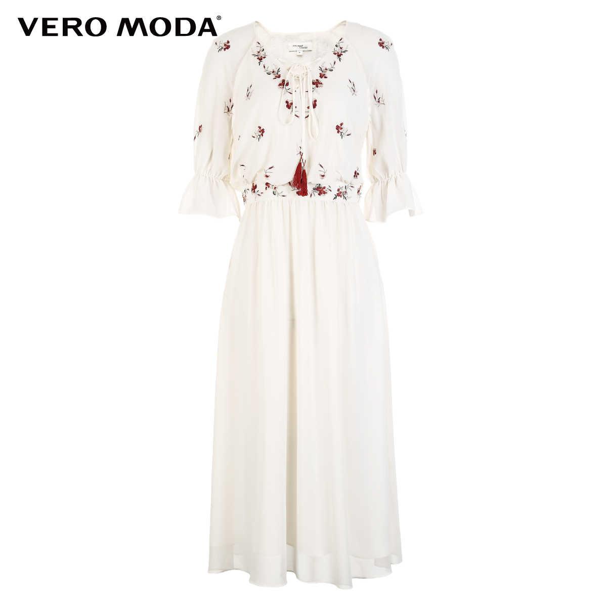 Vero Moda кружевное шифоновое макси-платье с v-образным вырезом и вышивкой | 31826Z549