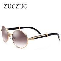ZUCZUG Retro Rodada Óculos De Sol Dos Homens Quadro Completo de Luxo Da Marca Genuína Chifre Óculos de Sol Para Homens óculos de chifre preto e branco Carter