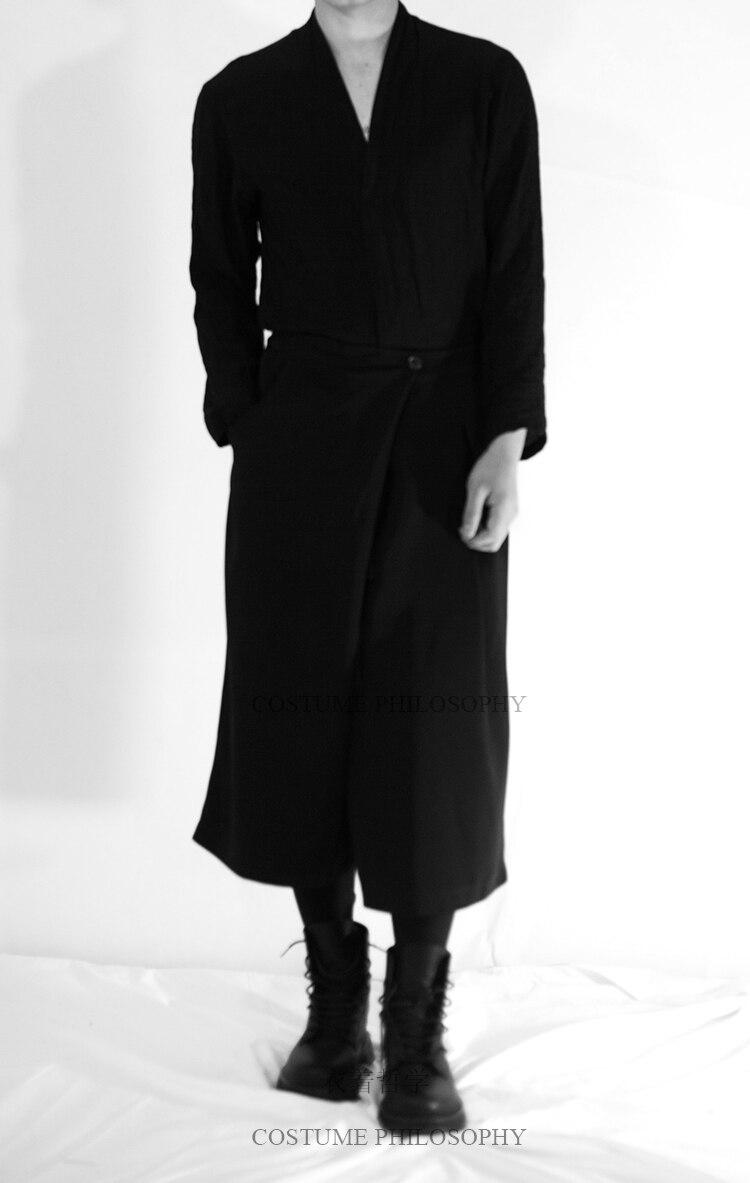 27-44 2019 neue Männer kleidung der Haar fashion Stylist plus größe Samurai hosen Breite Bein Hosen culottes kostüme