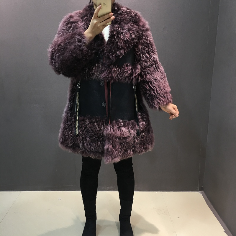 Mode Femme Color Mongolie Femmes Chaud Fourrure Épais En Long Véritable Et Pour Peau Manteaux Picture Cuir gray Dames Moyen Moutons De Manteau pRgSCRB