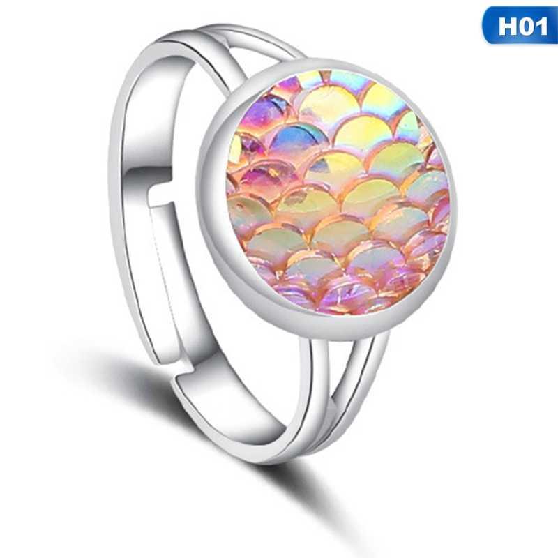Hecho a mano Drusy plata Color sirena pez/dragón escala en forma de anillo ajustable para mujeres fiesta regalo joyería Vintage Envío Directo