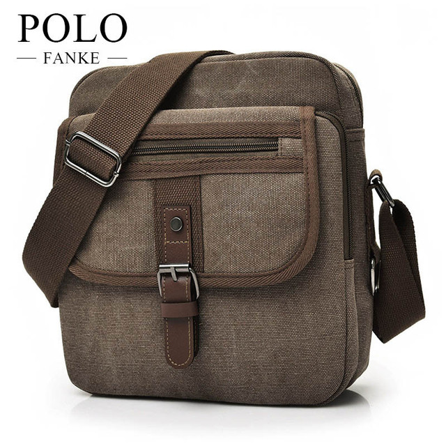 00b8eff22dd6 FANKE POLO Fashion Business Handbags Canvas Casual Zipper Messenger Bags  Male Vintage High Quality Crossbody Bag