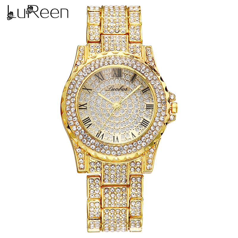 Lureen Luxury Full Diamond Quartz Watch For Women Gold Band Mens Watches  Wrist Watch Clock Hours W0019(China)